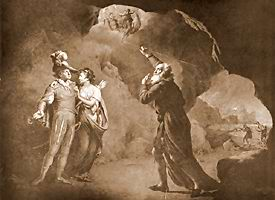 "literature out loud supernatural elements in ""the tempest"" m da ferdinand and prospero near us and the goddesses entering at the top of the picture while prospero is pointing them"